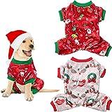 Xuniea 2 Pieces Christmas Dog Pajamas Xmas Puppy Shirt Pet Warm Sleeping Clothes Christmas Puppy Pajamas Shirts for Home Wearing Holiday Party Decorations (S)