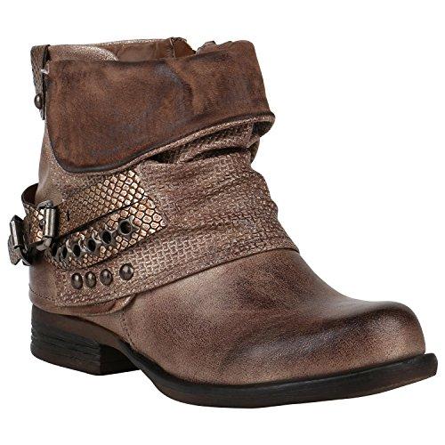 Gefütterte Damen Biker Boots Nieten Schnallen Stiefeletten Schuhe 149766 Khaki Nieten 39 Flandell
