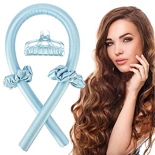 Varilla para rizar sin Calor, Heatless Curler,Silk Hair Curler,Rizadores de Pelo de Onda de cinta,Diadema de vara de curling sin calor (azul)