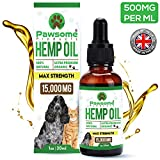 Pawsome Products Hemp Oil for Dogs, Cats & Pets   High Strength 15,000mg / 30ml   Rich in Omega 3 & 6  ...