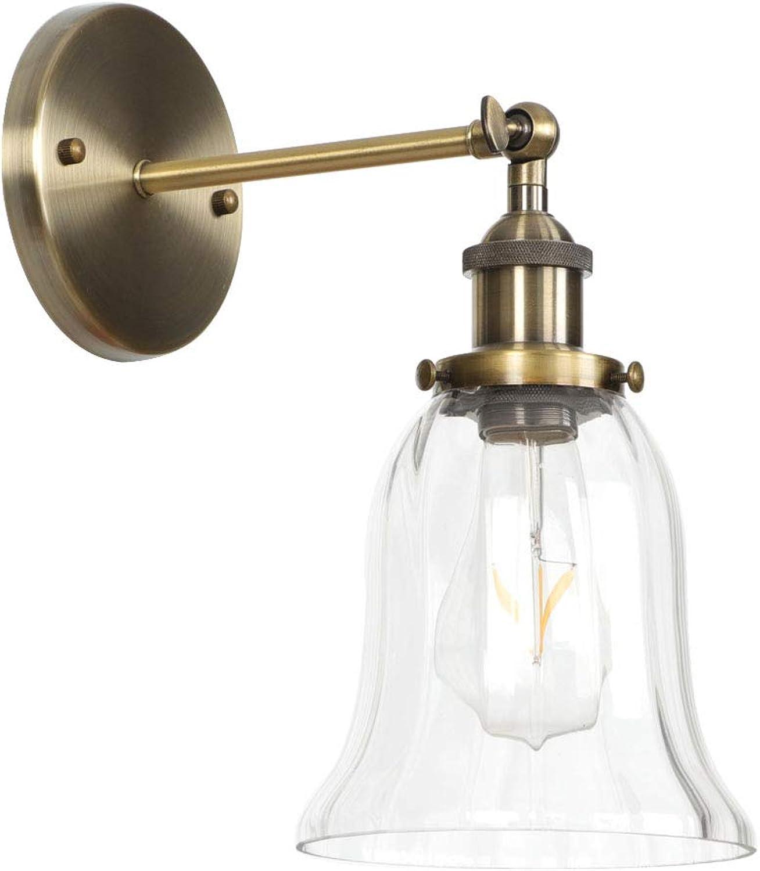 Amter Eiserne Wandlampe, Amerikanische Landpersnlichkeit Einfache Hotel-Restaurant Nordic Industrial Retro-Schlafzimmer Wohnzimmer-Dekoration Grüne Bronze Wandlampe,BronzeE