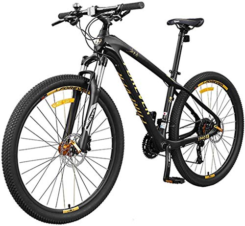 Mountain Bikes Carbon Fiber Frame Double Suspension Mountain Bike 27.5 Inches, Dual Disc Brake Unisex Mountain Bike Mountain Bike, 27/30-speed 27speed/Yellow