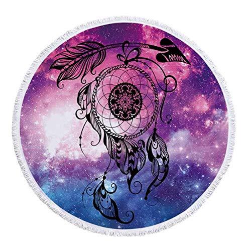 GermYan Mandala Universe Starry Sky Atrapasueños Toalla de Playa Redonda 150Cm Toalla de Playa de Elefante Toallas de Microfibra