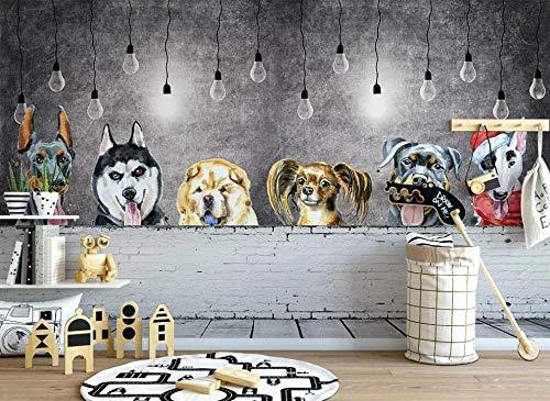 MGQSS Tapete Wandgemälde Wandkunst Cute Puppy Animal Zoohandlung 3D Selbstklebend PVC Wandgemälde Essen und Trinken Café Geschäft Restaurant Bekleidungsgeschäft Jahrgang Thema Hinte (B)430x(H)300 cm