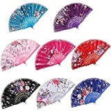Best Handheld Fans - BABEYOND 8pcs Floral Folding Hand Fan Vintage Handheld Review