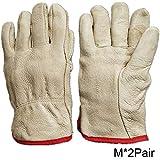 HUI JIN - Guantes térmicos de piel con forro de alta calidad para conductores (2 pares)