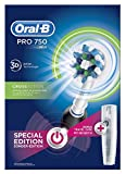Oral-B PRO 750 CrossAction Pack Regalo, Cepillo de dientes eléctrico recargable, Blanco/Negro