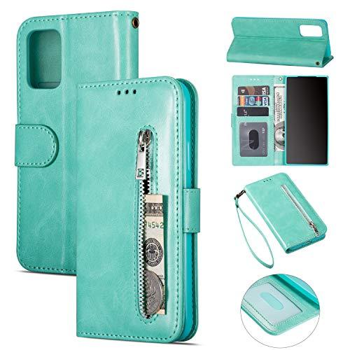 ZTOFERA Samsung A71 Hülle, Magnetisch Folio Flip Wallet Leder Standfunktion Reißverschluss schutzhülle mit Trageschlaufe, Brieftasche Hülle für Samsung Galaxy A71 - Minzgrün