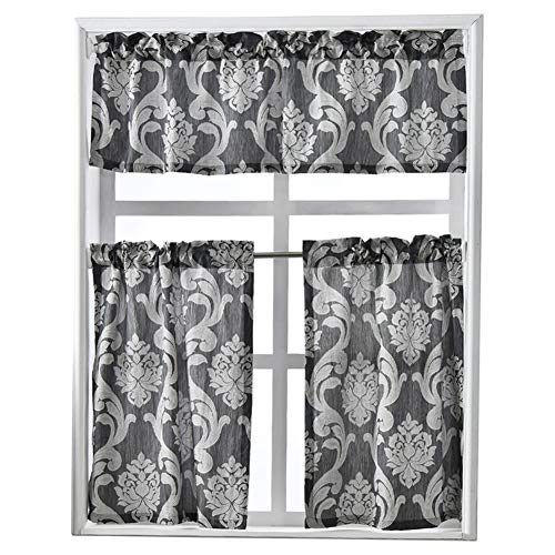 NAPEARL Set of 3 Pieces Rod Pocket Kitchen Curtains Valance and Tiers (Gray)