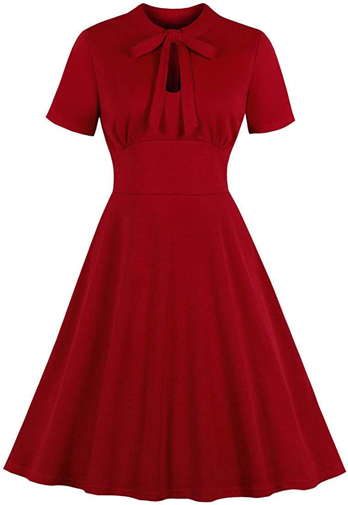 Vintage Red Dresses | Valentines Day Dresses, Outfits, Lingerie Wellwits Womens Keyhole Bow Tie Front 1940s Vintage Collared Cocktail Dress $25.98 AT vintagedancer.com