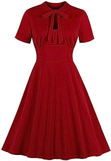 Wellwits - Vestito da cocktail da donna, con apertura sul davanti, stile vintage anni '40