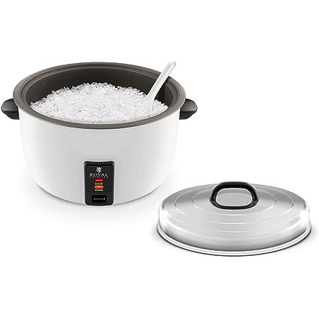 Royal Catering Cuiseur Riz RCRK-10A (2.950W, 23L de capacité, récipient de cuisson en acier inoxydable, avec poignée en matière plastique, Incl. verre mesureur et cuillère à riz)