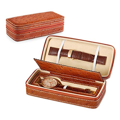 Kücheks Zipper Watch Storage Bag Handmade Leather Bag Portable Mini Watch Jewelry Storage Box Travel Watch Boxes Box (Color : A)