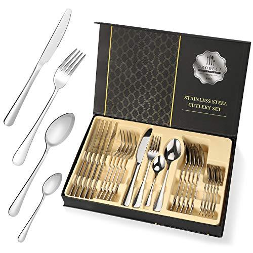 Besteckset aus Edelstahl 24-teilig für Haus Küche Restaurant Besteck Set mit Geschenkbox für 6 Personen, Messer Kuchengabel Löffel Teelöffel Inklusive (Silver, 24-teilig)