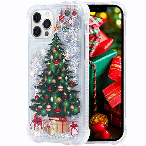 Flocute iPhone 12 Pro Case, iPhone 12 Glitter Christmas Case Case Clear Bling Sparkle Floating Liquid Soft TPU Bumper Luxury Fashion Girly Cute Phone Case for iPhone 12/12 Pro (Christmas Tree)
