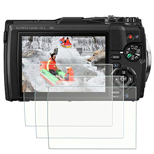 TG-6 Screen Protector Appliable for Olympus TG-6 Waterproof Camera, 0.3mm 9H Hardness Tempered Glass Flim Anti-Scrach Anti-Fingerprint Anti-Bubble Anti-Water (3 Packs)