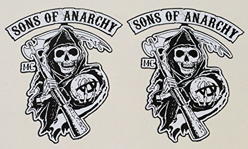 MG307 / 2x Aufkleber Sons of Anarchy je 7x6cm Biker Skull Rocker MC Death Man Chopper Hot Rod Old School Vintage