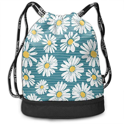 Drawstring Cinch Bag Lightweight Sackpack for Women Men, Large Capacity Multifunction Knapsack for Hiking Yoga Gym Swimming Travel Beach Daily Use, Green Daisy Flowers