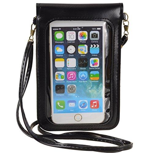 Umhängetasche Blumen Design PU Leder Tasche FÜR Samsung Galaxy Note 8/S8Active/iPhone X/iPhone 8Plus/Motorola Moto G5S Plus/E4Plus/Z2Play/HTC U11/HTC U Ultra, schwarz