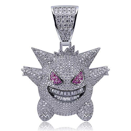 LILIMO Hip Hop Schmuck Maske Gengar Halskette Der Neuen Ankunfts-Pokemon-Anhänger Kubikzircon Kupfer-Halskette Iced Out Kette Herren Geschenk,Silber