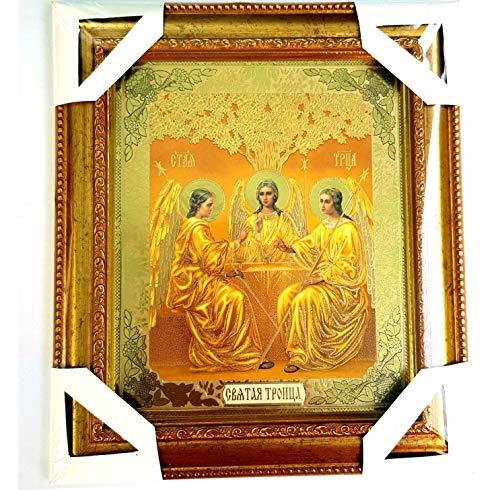Warenwelt Bild mit Rahmen Ikone Gott-Vater, Gott-Sohn Jesus Christus und Heiliger Geist Trinität geweiht Größe: 20 x 23 x 2 cm Russische Ikone Dreieinigkeit, Dreifaltigkeit