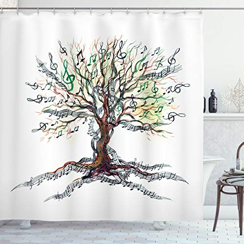 """Ambesonne Music Shower Curtain, Musical Tree Autumnal Clef Trunk Swirl Nature Illustration Leaves Creative Design, Cloth Fabric Bathroom Decor Set with Hooks, 75"""" Long, White Brown"""