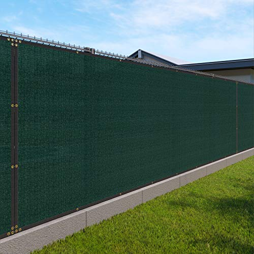 Windscreen4less Heavy Duty Privacy Screen Fence in Color Solid Green 6' x 50' Brass Grommets 150 GSM - Customized