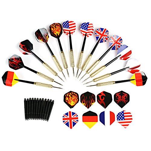 GWHOLE 12 Dardos de Acero con Patrón de Bandera/Fuego Puntas Metálicas + 12 Varillas + 28 Plumas