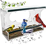 Birdious Deluxe Window Bird Feeder with Strong Suction Cups: Enjoy Clear View Outside Wild Birds. Large See Through Birdfeeder with Removable Seed Tray. Best Gift Idea