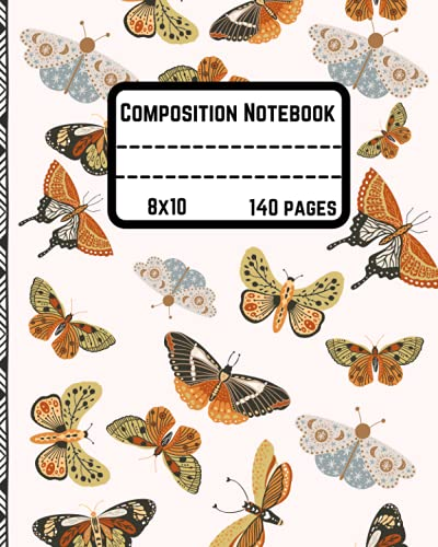 Boho Butterfly Composition Notebook Journal: Wide Ruled Paper Notebook   Pretty Beautiful Boho Butterfly   Blank Wide Lined Workbook for Teens As Back to School Supplies