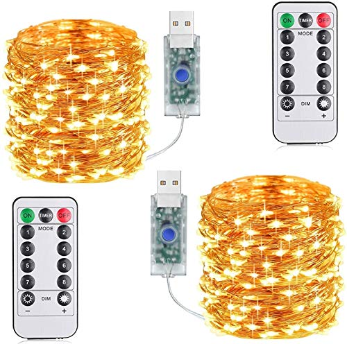 XYKILY Suplong 33ft 100LED Copper Wire String Lights Fairy String Lights 8 Modes LED String Lights USB Powered with Remote Control for Wedding Party Home Christmas Decoration (Warm White)
