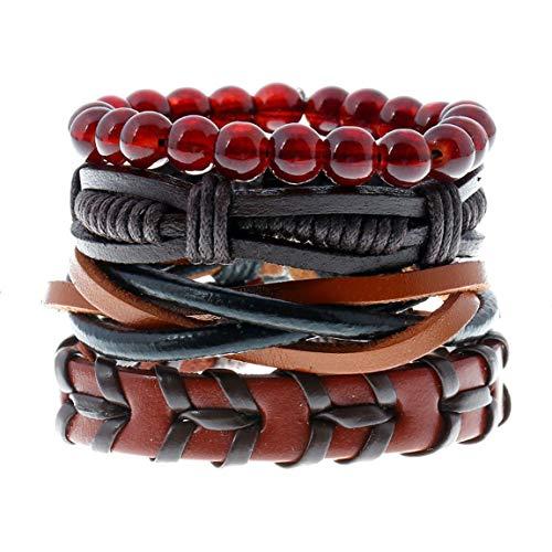 SeniorMar-UK Retro Antik Leder Armband Armreif Holzperlen verstellbare Armbänder für Frauen Männer Schmuck