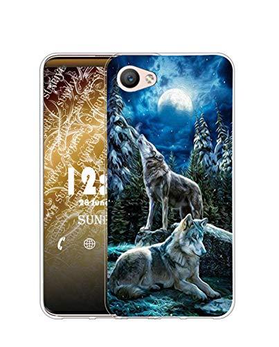 Sunrive Funda Compatible con iPhone 5/5S/SE(2016), Silicona Slim Fit Gel Transparente Carcasa Case Bumper de Impactos y Anti-Arañazos Espalda Cover(Q Lobo 1)