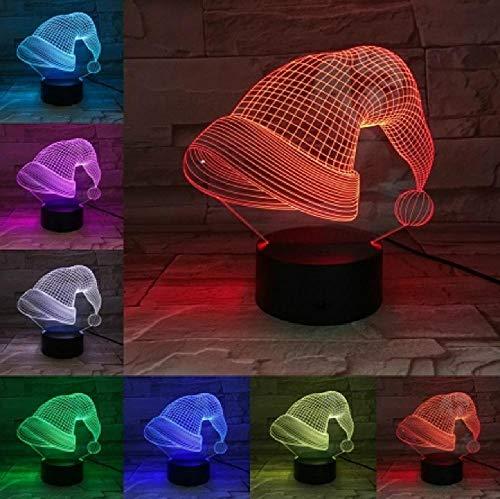 Weihnachtsmütze-3D Lampe, Sieben Farben Mit Ferngesteuerter Nachttischlampe,Geburtstagsgeschenke Für Kinder Und Erwachsene