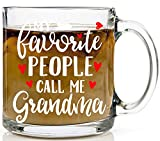 My Favorite People Call Me Grandma Glass Mug - Funny Unique Grandma Mug Perfect Gifts for Grammy from Granddaughter and Grandson - Nana Grandmother Funny Coffee Cup13oz Glass Coffee Mug - by Funnwear