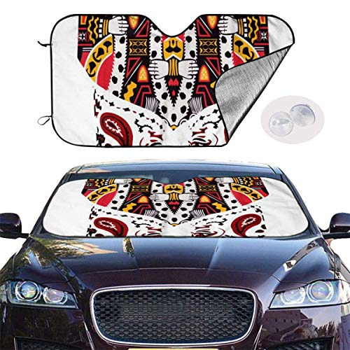 VTIUA Parasol para Parabrisas Frontal de Coche,Two Hearts Poker Pattern Portable Universal Sunshade Keeps Vehicle Cooler for Car,SUV,Trucks,Minivan Automotive and Most Vehicle Sunshade (51 X 27 in)