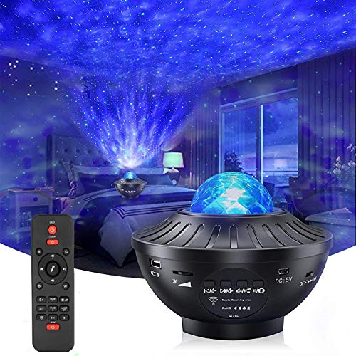 Star Projector Night Light with Timer & Remote Control,2 in 1 Ocean Wave Projector for Baby Kids Bedroom/Game Rooms/Home Theatre, Built-in Music Speaker