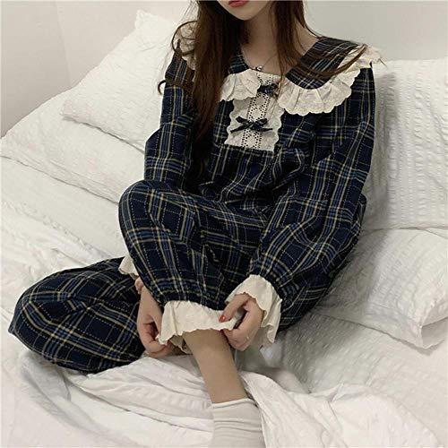 FZH Elegante Ropa de Dormir a Cuadros Patchwork Encaje geométrico de Manga Larga Ropa de casa Suelta Casual Chic Mujeres Pijamas Dulces-un_Talla única