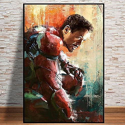 Marvel Superhero Avengers - Póster moderno de Iron Man sobre lienzo para decoración de pared para salón, decoración del hogar, sin marco, póster (40 x 60 cm)