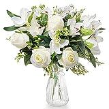 Love Bloom Flores Artificiales Decoración con Florero – Ramo Rosas y Orquideas Artificiales Blancas de Seda en Jarrón Transparente con Cinta Raso – Bodas, Hogar, Oficina, Centro de Mesa y Fiesta
