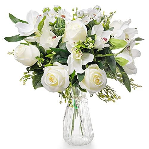 Love Bloom Fiori Finti per Decorazioni con Vaso Fiori - Rose Finte ed Orchidea Artificiale Sbocciate in Seta con Nastro Raso - Bouquet Fiori Artificiali per Decorazioni Matrimonio, Centrotavola, Feste