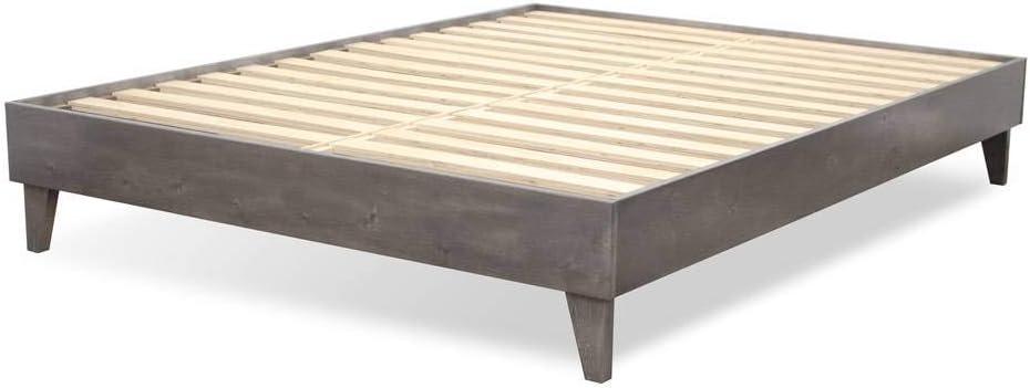 eLuxurySupply Wood Bed Frame - 100% North American Pine - Solid Mattress Platform Foundation w/Pressed Pine Slats - Easy Assembly - Twin XL