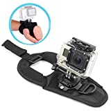 Walway 360 Degree Rotation Glove Style Band Wrist Strap Mount Strip Belt for GOPRO Hero 6/ 5/ 5 Session/ 4 Session/ 4/ 3+/ 3/ 2/ 1, Xiaoyi and Other Action Cameras, with Long Handle Screw