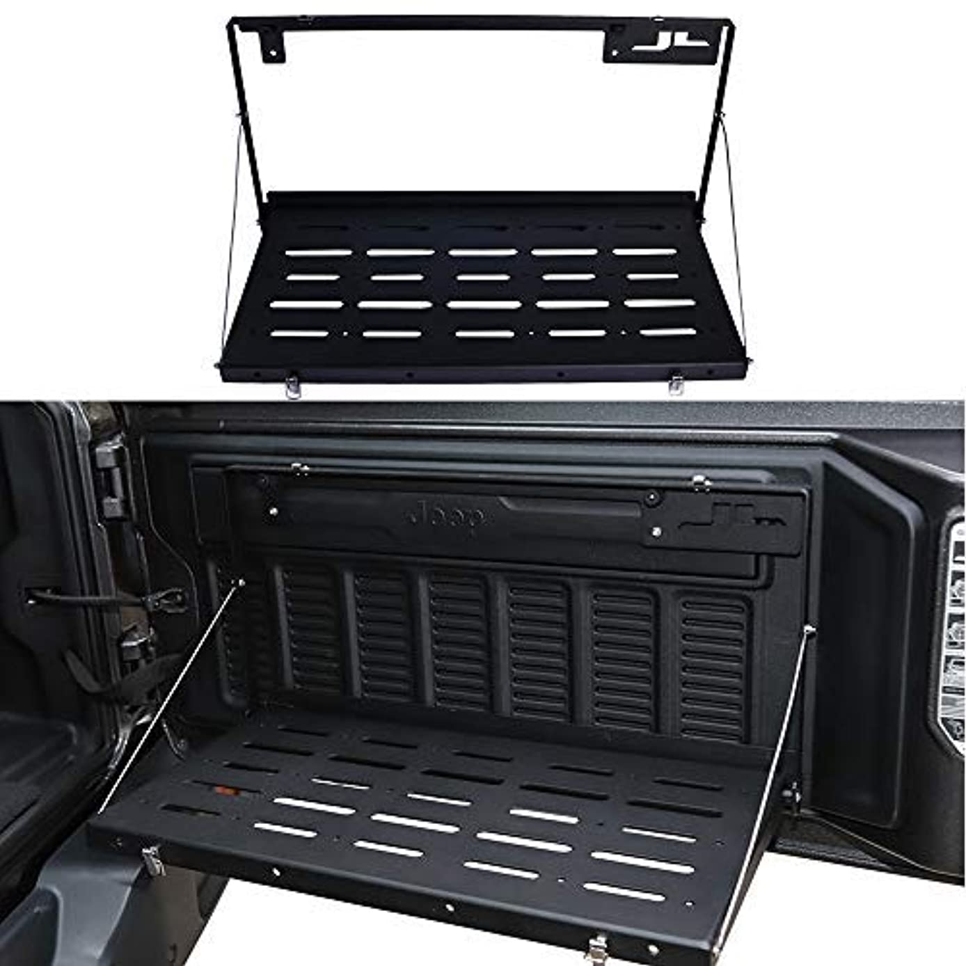 HEQIANG Aluminium Alloy Matte Black Flexible Foldable Tailgate Table Rear Trunk Door Rack Cargo Luggage Holder Carrier Back Shelf for Jeep Wrangler JL JLU 2018 (Instruction Included)