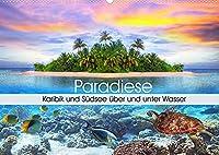 Paradiese. Karibik und Suedsee ueber und unter Wasser (Wandkalender 2022 DIN A2 quer): Ein Ausflug zu traumhaften Orten unter und ueber dem Wasser (Geburtstagskalender, 14 Seiten )