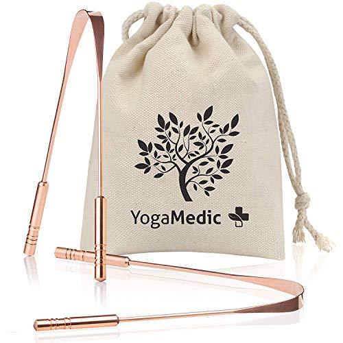 YogaMedic® Zungenreiniger [2x] 100% Kupfer gegen Mundgeruch mit stabileren Griffen - natürlich antimikrobiell - Ayurveda Zungenschaber Zungebürste inklusive Baumwollbeutel