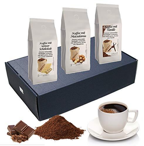 Geschenk Set Aromatisierter Kaffee Ganze Bohne 3 x 200 g (Macadamia, Weiße Schokolade und Vanille)