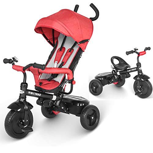 besrey Dreiräder, Fahrräder, Kinderwagen. Mit Einer Regenhülle. Silent Wheel und Anti-Pinch. 1-6 Jahre alt. Rot.