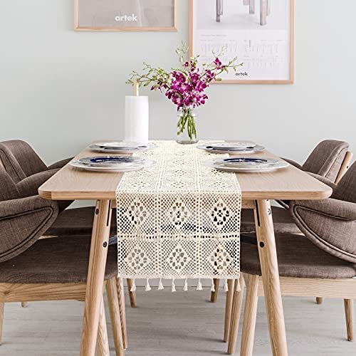 Dremisland Natural Macrame Table Runner Cotton Crochet Lace Bohemian Wedding Table Runner with Tassels for Bohemian Rustic Wedding Bridal Shower Home Dining Table Decor