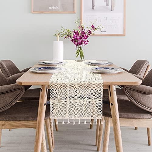 Dremisland - Runner da tavola in macramè, in cotone naturale all'uncinetto, stile bohémien, con nappe, ideale per matrimoni, matrimoni, feste e tavoli da pranzo